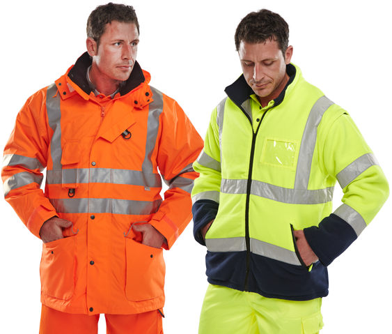 B-SEEN - Hi-Viz High visibility clothing jackets waistcoats fleeces trousers bodywarmers t-shirts and polo shirts sweatshirts
